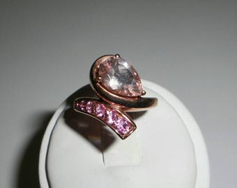 Natural Morganite and Pink Tourmaline 14k Rose Gold Filled Over Sterling Silver Ring