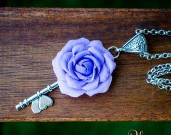 Necklace 'Purple Rose'. Handmade jewelry. DecoClay flowers. Artificial flowers. Pendant with rose. Polymer clay. Unique gifts. Jewellery set