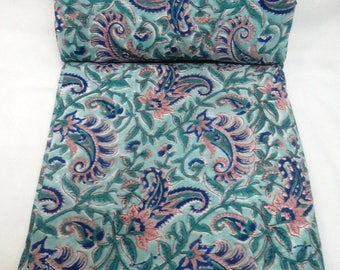 Indian Cotton Voile Block printed Natural vegetable dyed fabric Running Craft Sewing clothing fabric