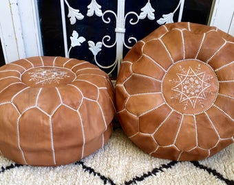Set of 2 Moroccan Pouf natural Leather pouf Floor pouf Leather Ottoman Moroccan Ottoman Tan pouf Natural leather pouf