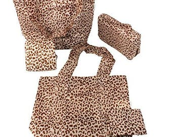Sachi Shop Pack & Go Market Totes- 5 Piece Set- Tan Leopard