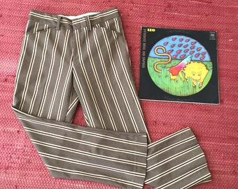 60s Mod Striped Flare Pants Brown and Cream Hippie Unisex 29x28