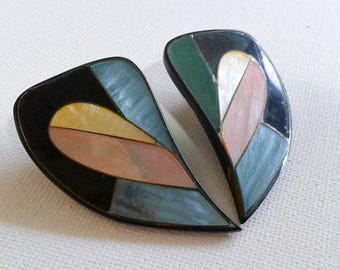 Big multi-coloured earrings, 80s earrings, large multi colour earrings, 80s stud earrings