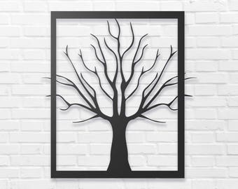 Tree Metal Wall Sign Art, Home Decor Gift 18.5''x17''  Wood,vein,color options