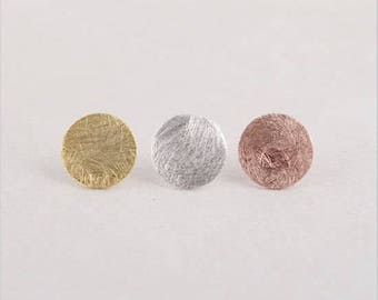 24/7 Jewelry Collection circle earrings-round-Stud Earrings-brushed-Minimalist-Silver-Gold-rose gold