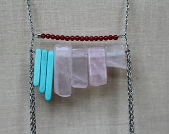 Pink, blue, and red beaded long statement chain necklace