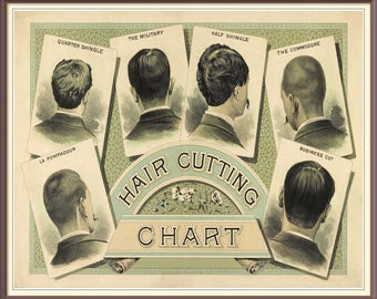 Barbers Hair Cutting Chart. Vintage Image - Digital Download
