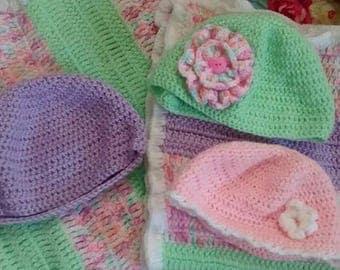Crochet Baby Blanket & Hat Set (Girl)