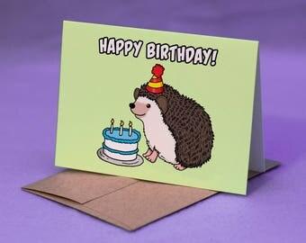 HEDGEHOG BIRTHDAY CARD - Hedgehog Happy Birthday Card - Hedgehog Birthday Cake Card - Hedgehog BDay Card - Hedgehog Card