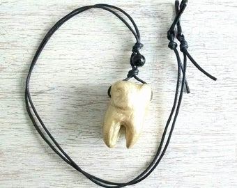 Gold (Painted) Molar Tooth Pendant/Statement Necklace