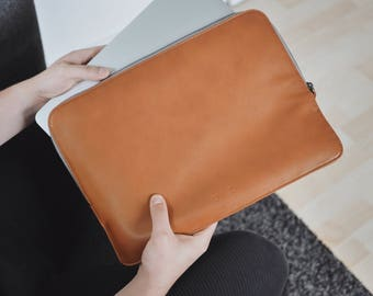 15 Inch MacBook Pro Leather Sleeve Case - Brown