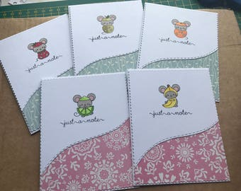 5 Handmade note cards, or thank you cards. Fruity little mice
