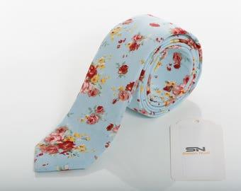 Aqua Blue Floral Ties, Skinny Wedding Tie,  Floral  Skinny Groomsmen tie, Gifts for him,Floral ties men, Floral ties