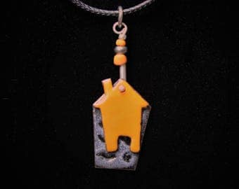 Enameled Jewelry, Enameled Necklace, Pendant Necklace, torch-fired charm