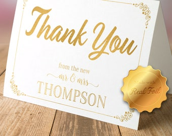 Elegant Foil Thank You Cards with Envelopes (set of 10)/ thank you notes/ Personalized cards/ Lined envelopes/ Wedding stationary