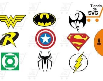 superheroes svg, batman svg,superman svg, capitan america svg, linterna verde svg, hombre araña svg file jpg. Silueta corte cricut.