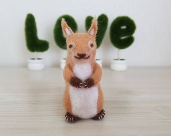 Needle Felted Squirrel, Brown Colored Squirrel, Handmade, Home Decor, Needle Felted Animals - READY TO SHIP