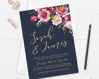 Printable Wedding Invitation Marsala Wedding Invitation Set Floral Invitation Spring Wedding Navy Invitation Wedding Greenery Floral Wedding