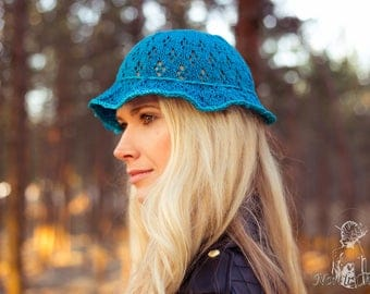 Blue Knitted Cottonwool Summer Hat