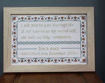 Heart of Hexham 'Betrothed' an engagement sampler