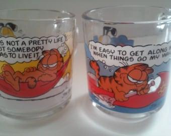 Vtg. McDonald's Garfield Clear Glass Coffee Mugs 1978 Lot of 2