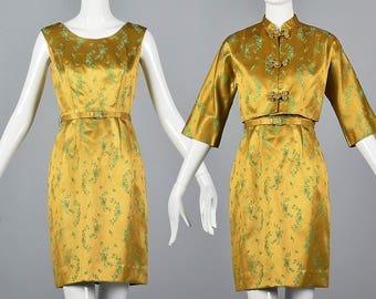 Small 1960s Two Piece Separates Dress 60s Dress Jacket Set Vintage Mustard Satin Brocade Sleeveless Frog Closures