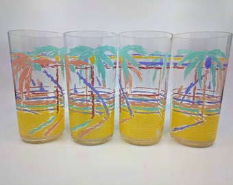 Retro 80's Drinking Cups | Tropical Palm Tree Glasses | Kitsch Kitchen | Colorful Drinkware | Beach Picnic