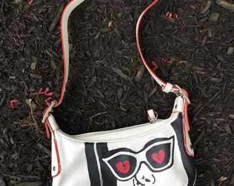 Coach leather bag, hand painted, comic theme.