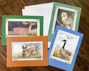 Set of 4 Woodland Creature Vintage Notecards