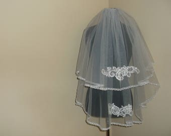 White 2 Tier Rhinestone Beaded Wedding Veil