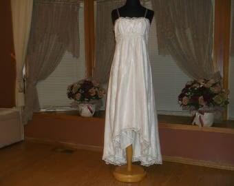 White Rhinestone Beaded Lace Hi-Low Wedding Dress