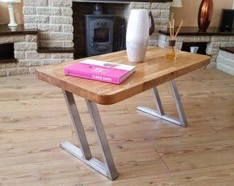 Solid Oak and Stainless Steel Coffee Table.  CANTERBURY DESIGN