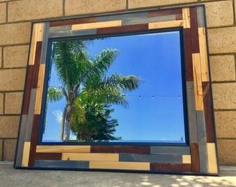 """Wood Mirror - 41"""" x 35"""" - Modern Wood Wall Art - Wall Mirror - Vanity / Bathroom Mirror"""