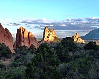 Scenic and artistic, watercolor effect portrait, of rock formations in Colorado Springs, Colorado