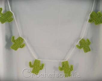 Crochet Light Green Cactus Banner