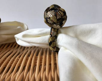 Set of 8 Vintage chinese knotted black napkin rings, knot napkin rings, black and gold napkin rings