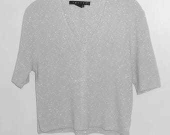 TESORI women's silver knit top V-neck size M