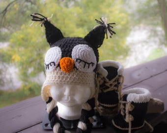 Baby Pacs Winter Boots W/Sleepy Owl Hat