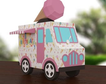Paper 3d Ice Cream Van