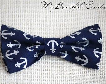 Nautical bow tie for boys, navy anchor bow tie for toddler boy, nautical photoshoot, boys navy bow tie