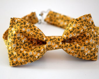Yellow floral bow tie, mens bow tie, wedding bow tie, yellow boy's bow tie, groomsmen bow tie, ringboy bow tie, ringbearer bow tie