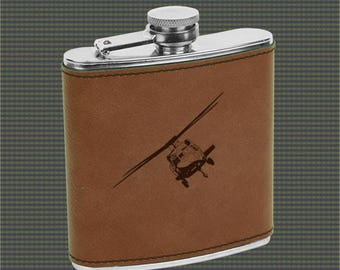 Leatherette Flask - Helicopter Designs