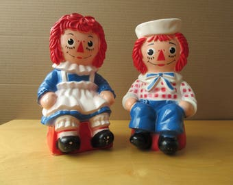 Raggedy Ann and Raggedy Andy Toy Banks, Circa 1972 - Vintage