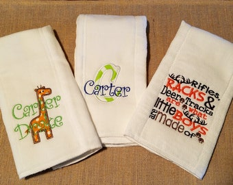 Personalized  burp cloth set for baby, embroidered