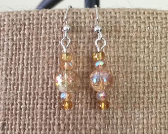 Amber crackle glass, amber faceted, and amber glass bead earrings