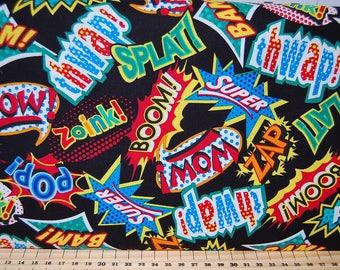 Studio E Super Hero Comic Book Phrases Zap Splat Pow Boom! Cotton Fabric Black