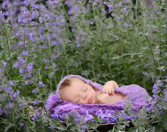 Newborn Digital Backdrop/Digital Background/Purple Flowers/Brown Bench