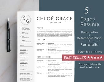 Creative Resume Template page | Creative & Professional CV Template + Cover Letter for MS Word | Instant Digital Download | Portofolio Page