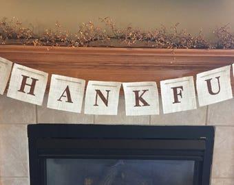 Thanksgiving Banner - Thankful - Thankful Banner - Fall Banner - Burlap Banner - White Burlap - Custom Banner