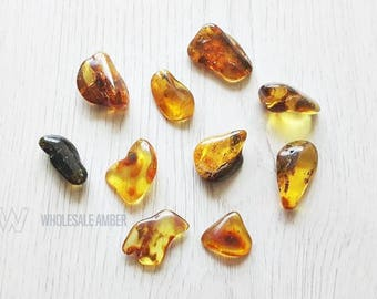Wholesale amber stones. Loose amber stones. Amber stones for jewelry making. Natural amber. Polished stones. 10 pieces. SM08